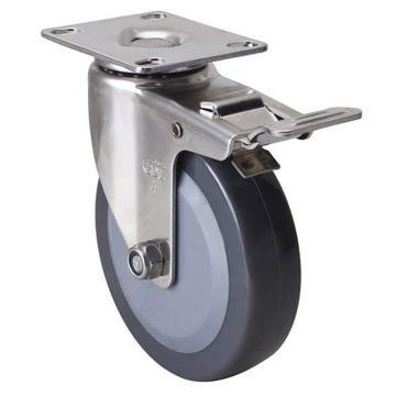 易得力(EDL) 平顶刹车聚氨酯(PU)脚轮,脚轮不锈钢轻型4寸70kg,S34724L-S344-74