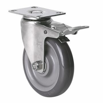 易得力(EDL) 平顶刹车聚氨酯(PU)脚轮,脚轮不锈钢轴承4寸90kg,S34724L-S344-76