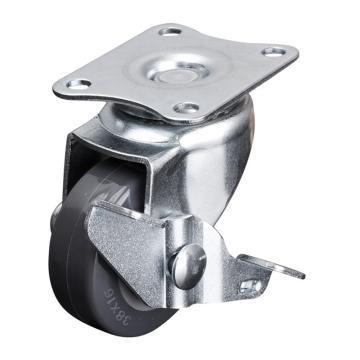 易得力(EDL) 平顶刹车聚氨酯(PU)脚轮,脚轮小型1.5寸30kg,201215A-2015-72/A
