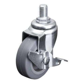 易得力(EDL) 丝口刹车超级人造胶(TPE)脚轮,脚轮小型1.5寸30kg,201415A/M10X15-2015-52/A