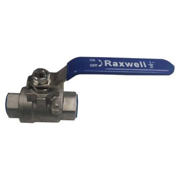 Raxwell Q11F型二片式304不锈钢球阀,PT内螺纹,DN10(建议使用压力10-40公斤)