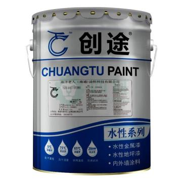创途 高性能水性地坪中涂漆,飞机灰,双组份A:B=16:4,20kg/桶
