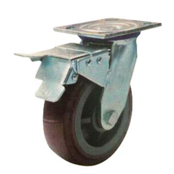 申牌 4寸塑芯聚氨酯重型脚轮,平底万向刹车,载重(kg):250,轮宽(mm):45,全高(mm):145