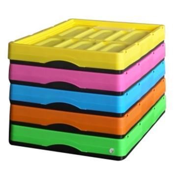 西域推薦 彩色折疊周轉箱(無蓋),全新料,尺寸:530*360*295mm,黃色,載重:10-15kg