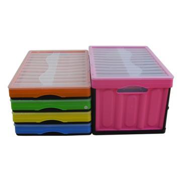 西域推薦 彩色折疊周轉箱(有蓋),全新料,尺寸:530*360*300mm,黃色,載重:10-15kg