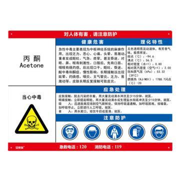 安赛瑞 职业病危害告知卡-丙酮,ABS板,600×450mm,14580