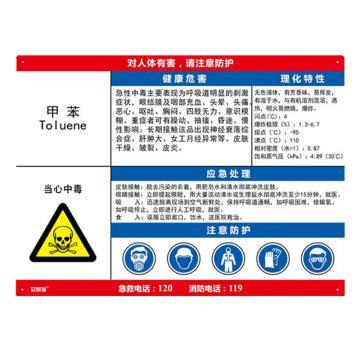 安赛瑞 职业病危害告知卡-甲苯,ABS板,600×450mm,14581