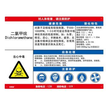 安赛瑞 职业病危害告知卡-二氯甲烷,ABS板,600×450mm,14582