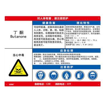 安赛瑞 职业病危害告知卡-丁酮,ABS板,600×450mm,14583