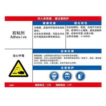 安赛瑞 职业病危害告知卡-胶黏剂,ABS板,600×450mm,14584