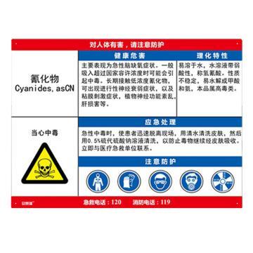 安赛瑞 职业病危害告知卡-氰化物,ABS板,600×450mm,14586