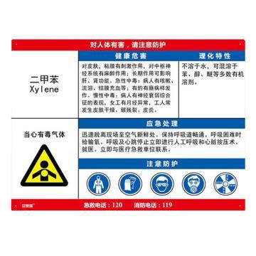安赛瑞 职业病危害告知卡-二甲苯,ABS板,600×450mm,14588