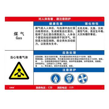 安赛瑞 职业病危害告知卡-煤气,ABS板,600×450mm,14589