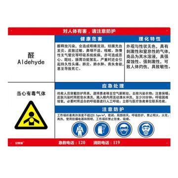 安赛瑞 职业病危害告知卡-醛,ABS板,600×450mm,14597