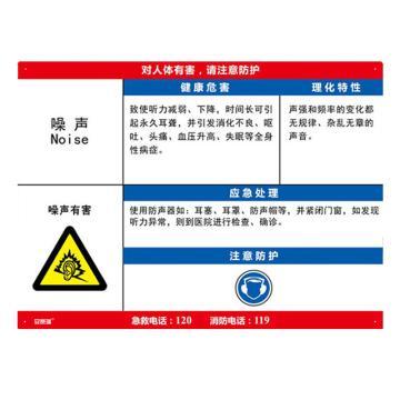 安赛瑞 职业病危害告知卡-噪声,ABS板,600×450mm,14598