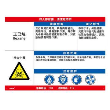安赛瑞 职业病危害告知卡-正己烷,ABS板,600×450mm,14602