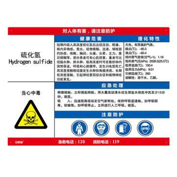 安赛瑞 职业病危害告知卡-硫化氢,ABS板,600×450mm,14603