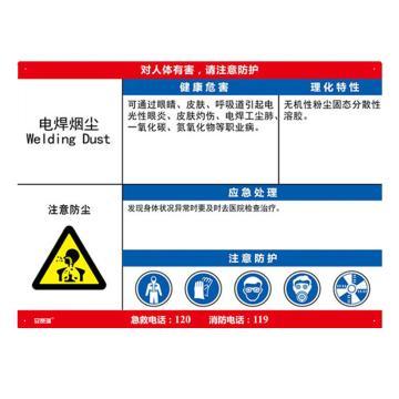 安赛瑞 职业病危害告知卡-电焊烟尘,ABS板,600×450mm,14606