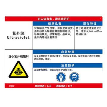 安赛瑞 职业病危害告知卡-紫外线,ABS板,600×450mm,14609