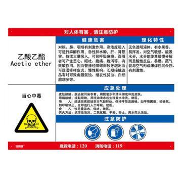 安赛瑞 职业病危害告知卡-乙酸乙酯,ABS板,600×450mm,14611