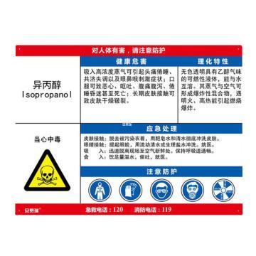 安赛瑞 职业病危害告知卡-异丙醇,ABS板,600×450mm,14614