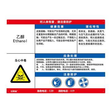 安赛瑞 职业病危害告知卡-乙醇,ABS板,600×450mm,14615