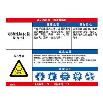 安赛瑞 职业病危害告知卡-可溶性镍化物,ABS板,600×450mm,14624