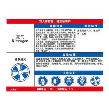 安赛瑞 职业病危害告知卡-氮气,ABS板,600×450mm,14633