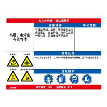 安赛瑞 职业病危害告知卡-高温、电焊尘、有毒气体,ABS板,600×450mm,14636