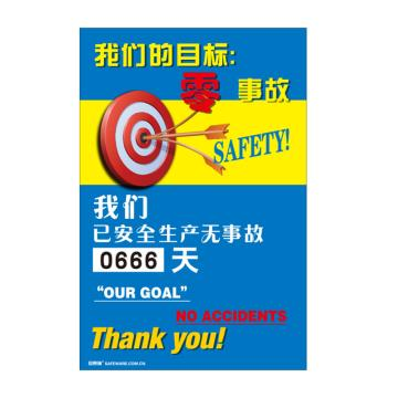 安赛瑞 安全生产天数纪录牌-我们的目标零事故,数字转盘,600×900mm,30001