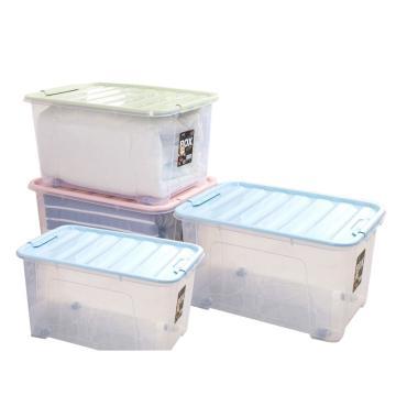 健安滑輪整理箱,80L時尚整理箱透明(蓋子顏色隨機) 1335-A 66x46x38cm 8個/箱 單位:個