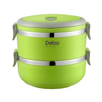 德鉑Debo沃格爾不銹鋼保溫飯盒,2層多層學生密封餐盒提鍋1.4LDEP-183