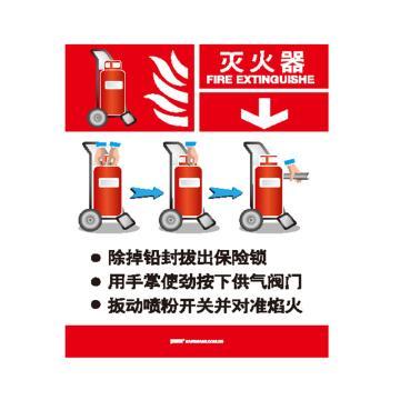 安赛瑞 灭火设备使用标识-灭火器,不干胶,200×260mm,20414