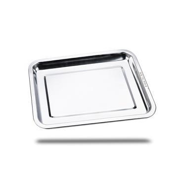 西域推荐 304不锈钢方盘,长方形托盘餐盘,商用烧烤盘 浅盘27x20x2cm