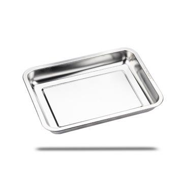 西域推荐 304不锈钢方盘,长方形托盘餐盘,商用烧烤盘 深盘45x35x4.8cm