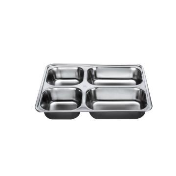 西域推荐 304不锈钢快餐盘, 四格分餐盘 加深大四格无盖(深度4cm)28.2x22cm