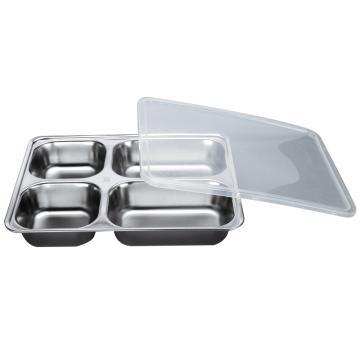 西域推荐 304不锈钢快餐盘, 四格分餐盘 加深大四格+PP塑料盖(深度4cm)28.2x22cm