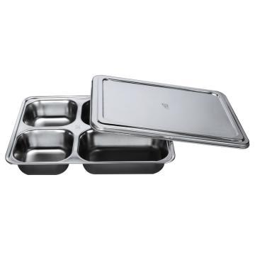 西域推荐 304不锈钢快餐盘, 四格分餐盘 加深大四格+不锈钢盖(深度4cm)28.2x22cm