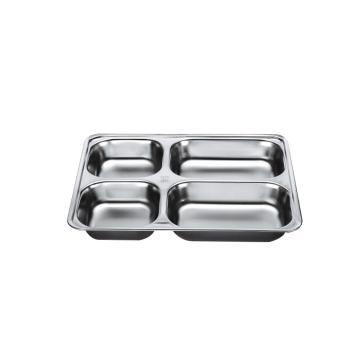 西域推荐 304不锈钢快餐盘, 四格分餐盘 浅款大四格无盖(深度3.5cm)28.2x22cm