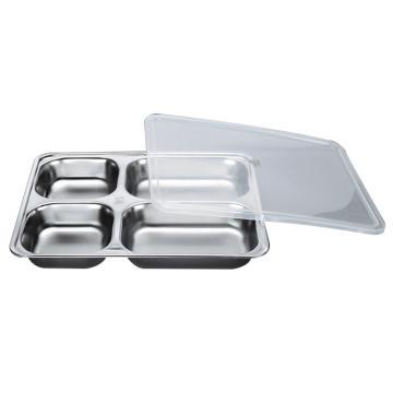 西域推荐 304不锈钢快餐盘, 四格分餐盘 浅款大四格+PP塑料盖(深度3.5cm)28.2x22cm