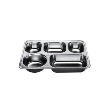 西域推荐 304不锈钢快餐盘, 五格分餐盘 深款五格无盖(深度4cm)28.2x22cm