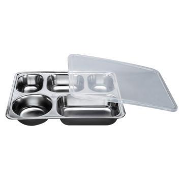 西域推荐 304不锈钢快餐盘, 五格分餐盘 深款五格+PP塑料盖(深度4cm)28.2x22cm