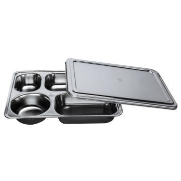 西域推荐 304不锈钢快餐盘, 五格分餐盘 深款五格+不锈钢盖(深度4cm)28.2x22cm