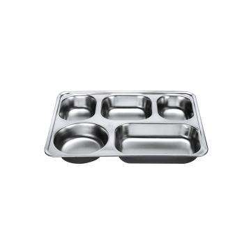 西域推荐 304不锈钢快餐盘, 五格分餐盘 浅款五格无盖(深度3.5cm)28.2x22cm