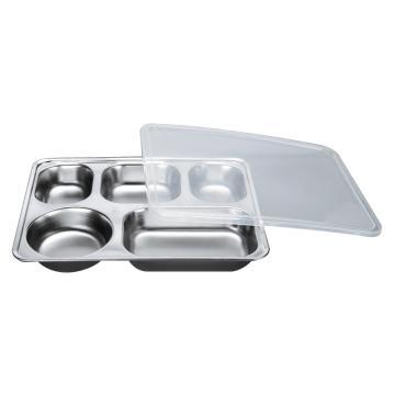 西域推荐 304不锈钢快餐盘, 五格分餐盘 浅款五格+PP塑料盖(深度3.5cm)28.2x22cm