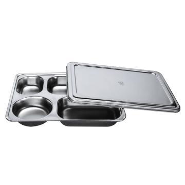 西域推荐 304不锈钢快餐盘, 五格分餐盘 浅款五格+不锈钢盖(深度3.5cm)28.2x22cm