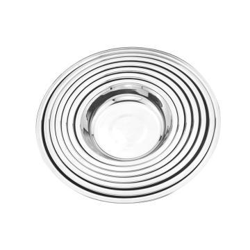 西域推荐 304不锈钢盘子,圆盘菜盘餐盘菜小碟子七件套 14-26cm
