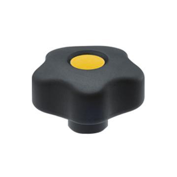 伊莉莎+岡特 凸輪旋鈕,黃銅轂螺紋孔帶蓋帽,VCT.32 B-M5-C4,黃色,1個