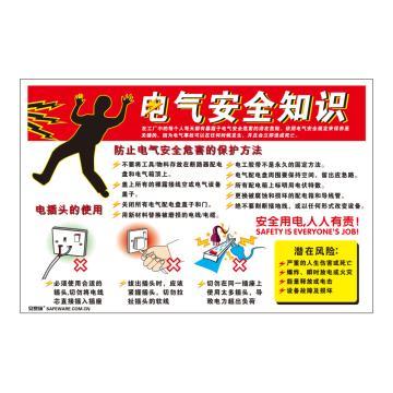 安赛瑞 电气安全知识,ABS板,75cm×50cm,30412