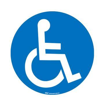 安賽瑞 地貼警示標識-殘疾人專用,超強耐磨地貼材料,Ф400mm,15718